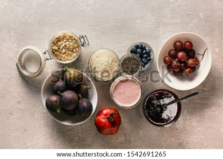 Mix from products of energy sources and vitamins for vegetarians and athletes. Concept: healthy eating and healthy lifestyle.