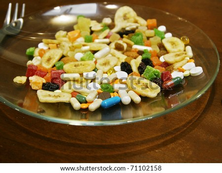 Mix from tablets and dried fruits