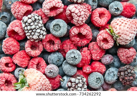 Mix frozen berries background. Frozen berries. #734262292