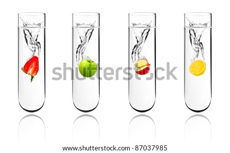 Mix fruit dropped in chemical test tube, Biotechnology, Genetically Modified Organisms