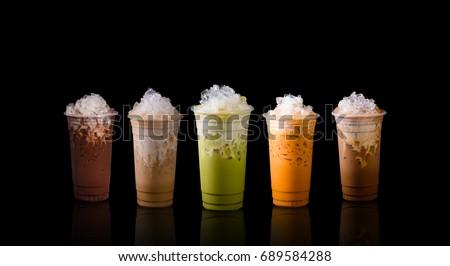 Mix ice beverage ex.green tea,cocoa,coffee,thai tea and ice chocolate.