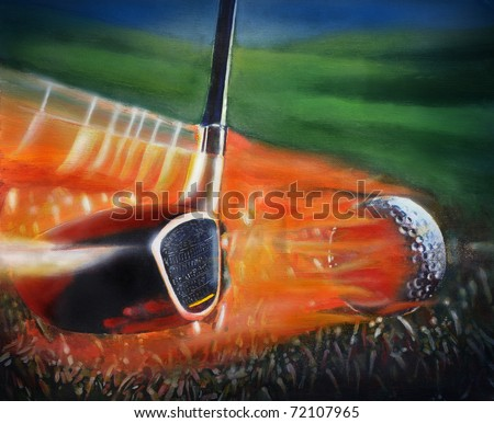 Mix media illustration of Golf Club and Golf Ball. This illustration is perfect for a variety of different design projects. I am the artist of the original artwork.