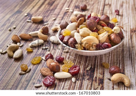 Mix nuts and dry fruits on wooden background