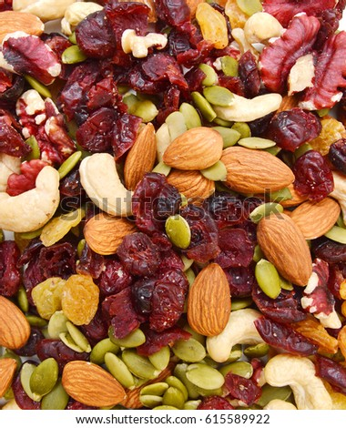 Shutterstock Mix nuts, dry fruits and grapes on background