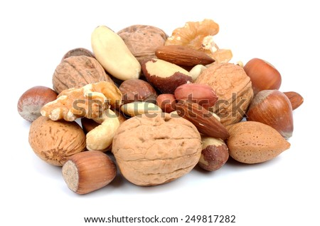 Shutterstock mix nuts isolated on white background