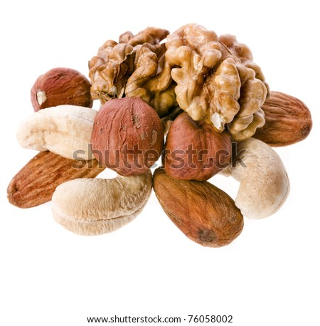 mix nuts isolated on white background