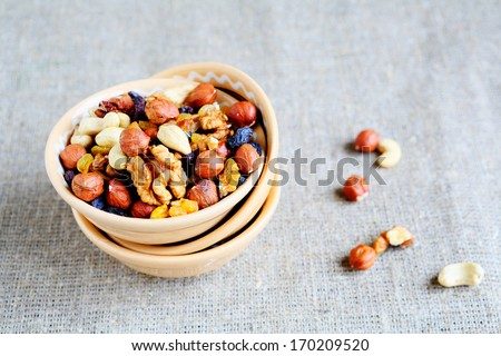 mix nuts - walnuts, hazelnuts, almonds, raisins, food closeup