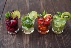 Mix of a different mojitos