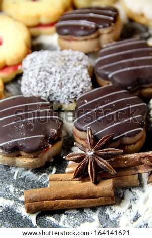 Mix of Christmas cookies with cinnamon, chocolate glaze and coconut