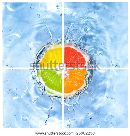 mix of citrus dropped into water with bubbles isolated on white - stock photo