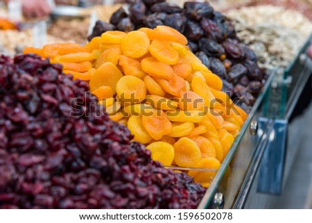 Mix of different dried fruits Dried apricots dried fruits.