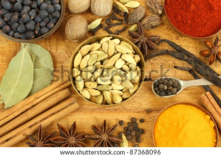 Mix of different spices composition. Vintage style