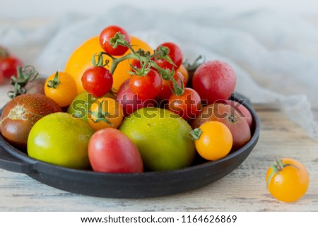 Mix of different varieties of tomato for cooking your favorite salads and snacks, your own garden and harvest, cherry red and yellow, a variety of kiwi #1164626869