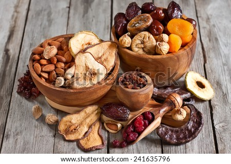 Shutterstock Mix of dried fruits and almonds - symbols of judaic holiday Tu Bishvat.