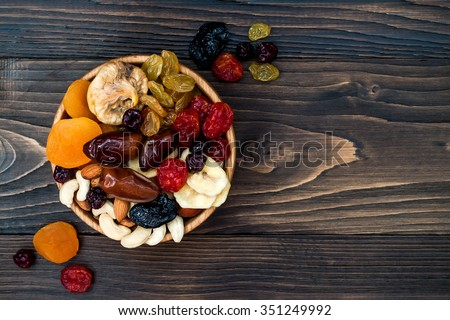 Shutterstock Mix of dried fruits and nuts on a dark wood background with copy space. Top view. Symbols of judaic holiday Tu Bishvat