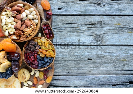 Shutterstock Mix of dried fruits and nuts - symbols of judaic holiday Tu Bishvat. Copyspace background.