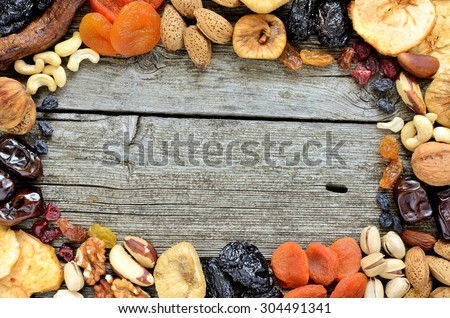 Shutterstock Mix of dried fruits and nuts - symbols of judaic holiday Tu Bishvat. Copyspace background.Top view.