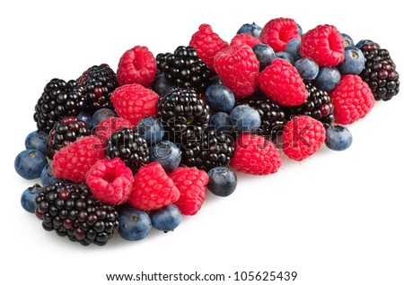 mix of fresh berries on the white