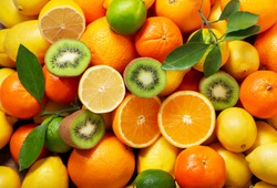mix of fresh fruits as background, top view