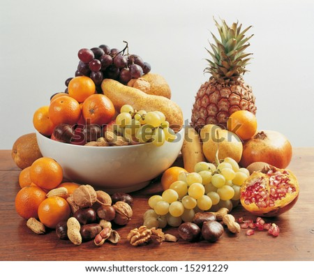 Mix of fruit on a shelf made of wood