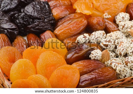 Mix of healthy dried fruits and nuts