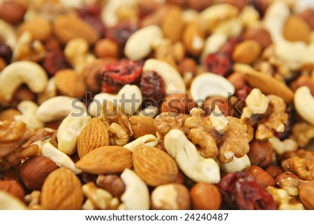 mix of many kinds of almonds and nuts