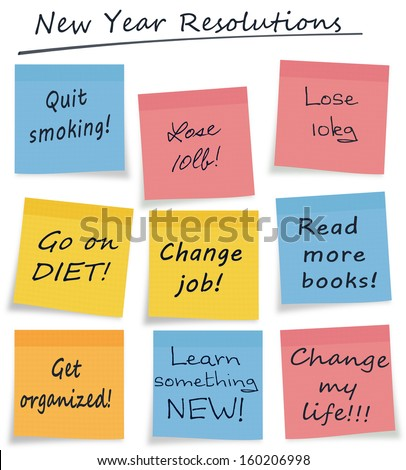 Mix of new year resolution or lifestyle self improvement notes easily selectable white background