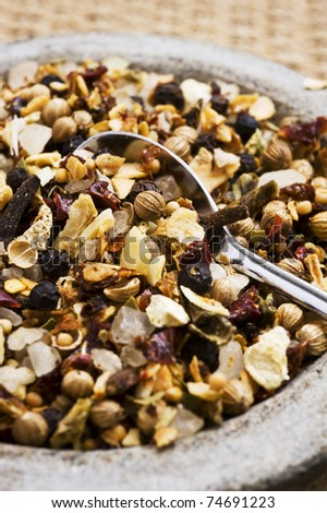 Mix of spices and herbs for seasoning of food - macro