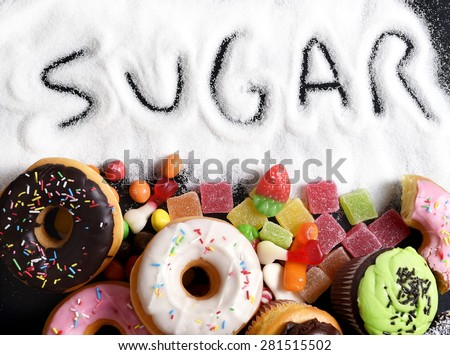 mix of sweet cakes, donuts and candy with sugar spread and written text in unhealthy nutrition, chocolate abuse and addiction concept, body and dental care - Shutterstock ID 281515502