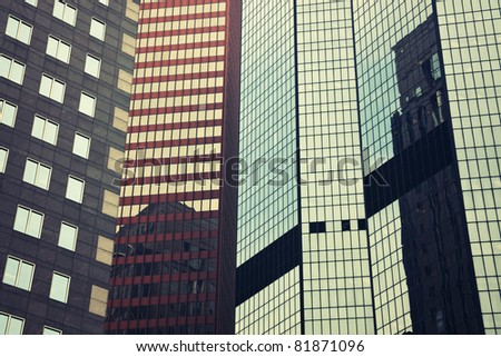 Mix of the modern downtown Pittsburgh buildings - stock photo
