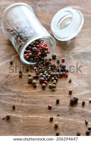 mix peppers, seasoning in a jar, food