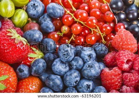 mix ripe berries collection set  surface close up macro shot