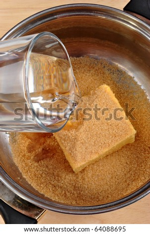 mix some water with butter and brown sugar
