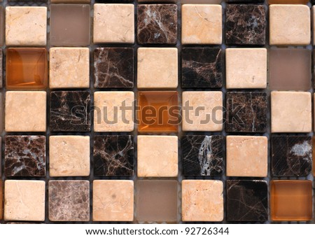 Mix stone and glass mosaic in brown tones