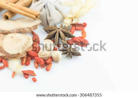 Mix thai spices isolated on white background