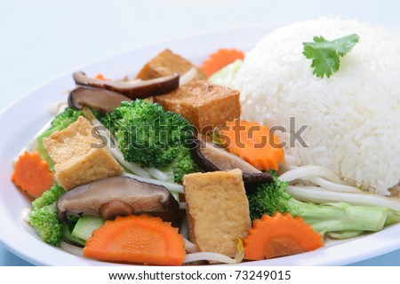 Mix Vegetable Stir Fried with Steam Rice