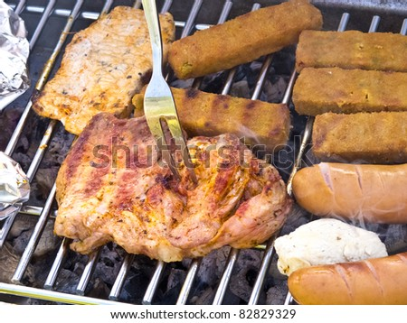 Mixed bbq selection and fork