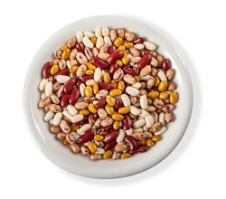 mixed  beans variety in a plate isolated on white  background