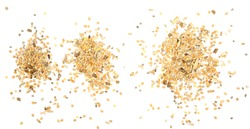 Mixed bird seeds, millet pile isolated on white background, top view