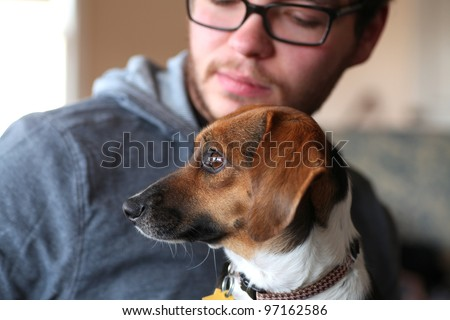 Mixed Breed Dog with Owner/Close up in window light of a small mixed breed dog looking out window with man out of focus in background looking at her.