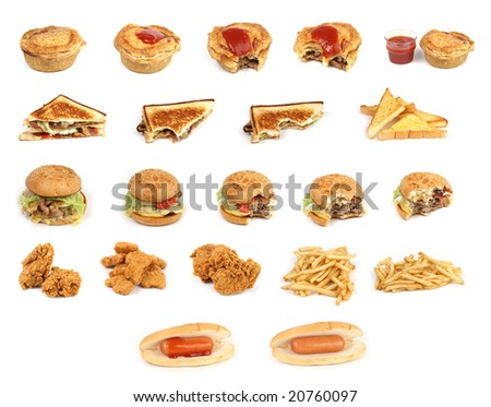 mixed bunch of fast food junk on a white background