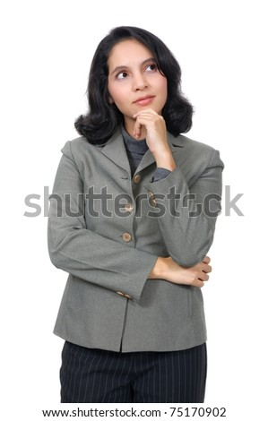 Mixed caucasian asian business woman, thinking on something. Isolated over white background