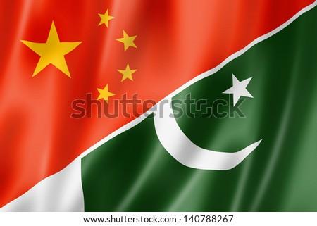 Mixed China and Pakistan flag, three dimensional render, illustration