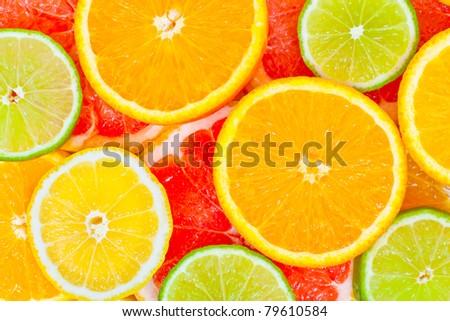 Mixed citrus fruit background #79610584