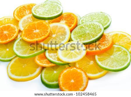 Mixed citrus fruit. Lemon, Lime, Orange #102458465