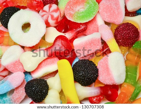 Mixed colorful candies background