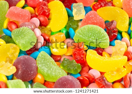 Mixed colorful candies. Color sweets background. Texture