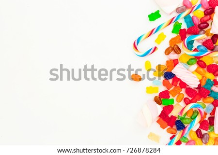mixed colorful candies isolated ...