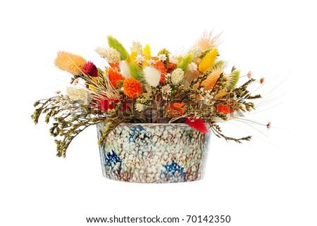 Mixed colorful dry flower arrangement