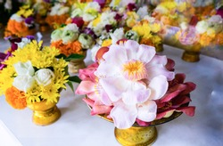 Mixed colorful fresh flower bouquet, Shorea robusta, marigold, white rose, lotus and mum on golden tray for Buddha pray. Religion concept background.